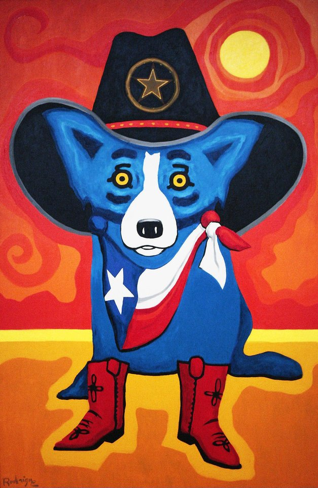 Left: �Take Me Back to Texas� is one of George  Rodrigue�s most recent paintings.