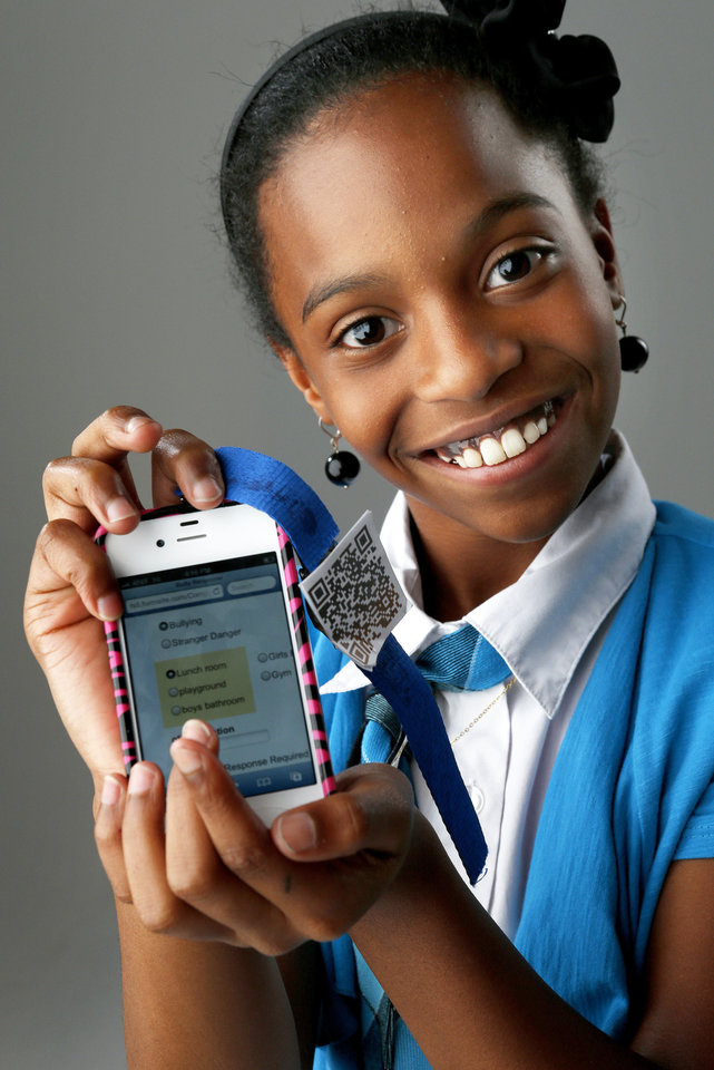Genesis Franks, 10, won the Invention Convention with her anti-bullying application for smartphones.  Photo by Bryan Terry, The Oklahoman