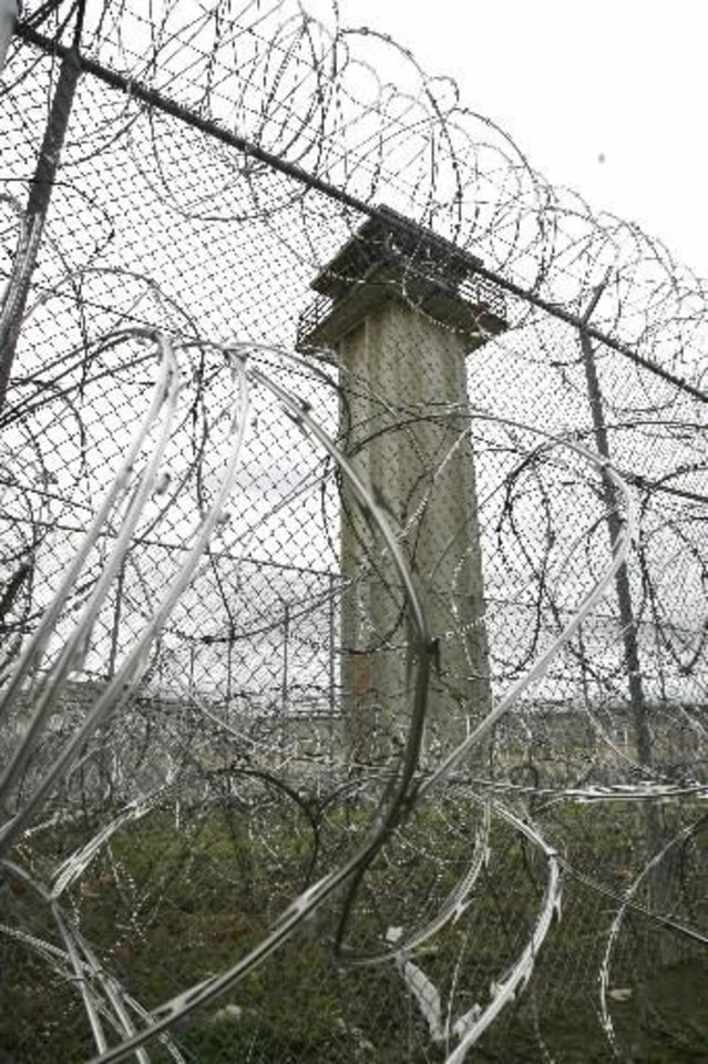 This is a guard tower overlooking the maximum security  building at the  Oklahoma State Penitentiary in McAlester, OK, Thursday, Jan. 10, 2008. BY PAUL HELLSTERN