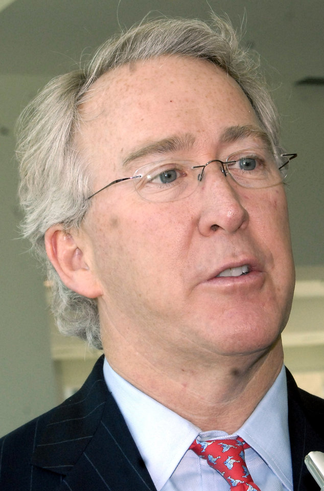 Photo - Aubrey McClendon, chairman, CEO and director of Chesapeake Energy, speaks with a reporter, Tuesday,  April 15, 2008 in Little Rock, Ark. (AP Photo/Mike Wintroath)