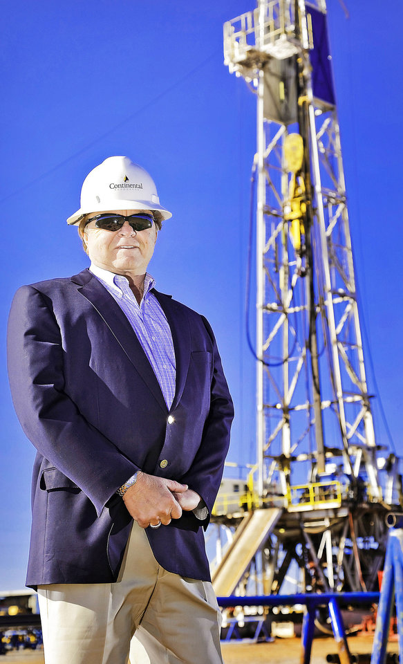 Continental Resources� Chairman and Chief Executive Officer Harold G. Hamm stands at a rig site Oct. 19 near Chickasha.