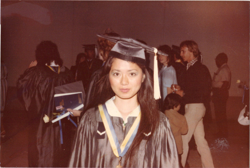 Jeanhee Kang in a cap and gown at her 1984 graduation from Rose State College. Kang credits the school with helping her to build a better life. Photo Provided