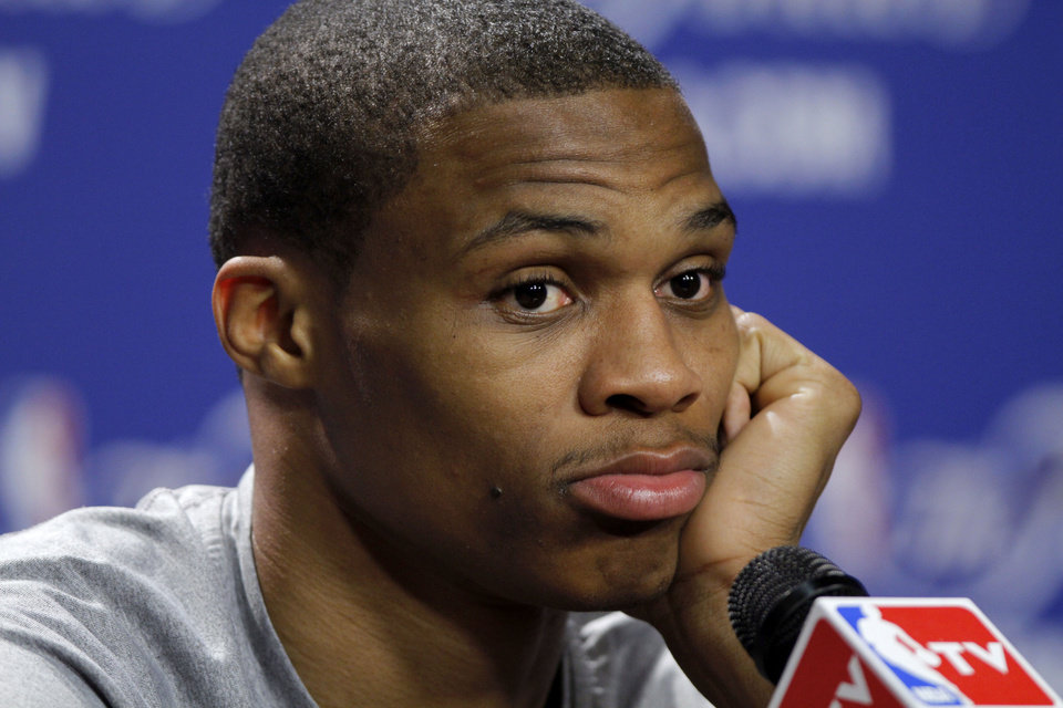 Oklahoma City's Russell Westbrook listens to a question during a press conference the day before Game 4 of the NBA Finals between the Oklahoma City Thunder and the Miami Heat at American Airlines Arena, Monday, June 18, 2012. Photo by Bryan Terry, The Oklahoman