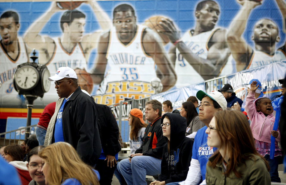 Fans get take a seat on the bleachers outside the Oklahoam City Arena before the NBA basketball game between the Denver Nuggets and the Oklahoma City Thunder in the first round of the NBA playoffs at the Oklahoma City Arena, Wednesday, April 27, 2011. Photo by Bryan Terry, The Oklahoman