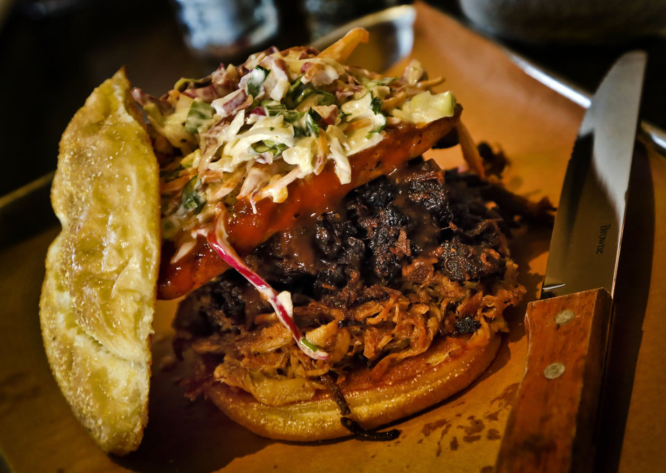 Photo - The PBJ sandwich at the new Back Door Barbecue at 315 NW 23 in Oklahoma City. Photo by Chris Landsberger, The Oklahoman  CHRIS LANDSBERGER - CHRIS LANDSBERGER