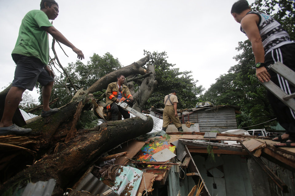 Photo - Residents and rescuers cut up a fallen tree on top of damaged a house from Typhoon Koppu in suburban Quezon city, north of Manila, Philippines on Monday, Oct. 19, 2015. Army, police and civilian volunteers scrambled Monday to rescue hundreds of villagers trapped in their flooded homes and on rooftops in a northern Philippine province battered by slow-moving Typhoon Koppu. (AP Photo/Aaron Favila)