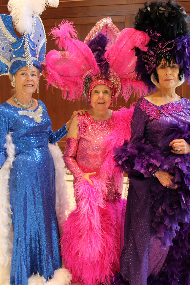 Photo - 2012 Oklahoma Senior Follies Beauties from left: Elizabeth Alexander, Betty Windsor and Betty Catching pose in costumes from the 2011 Oklahoma Senior Follies. Photo by Heather Warlick, The Oklahoman.