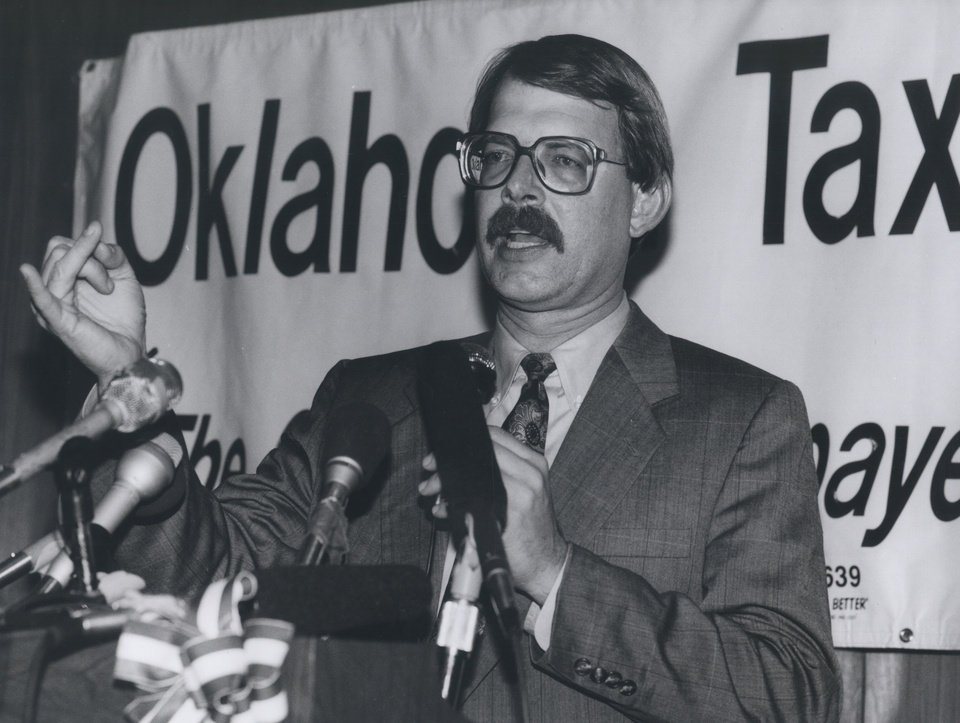 Photo - Dan Brown, president of the Oklahoma Taxpayers Union, was one of the prime movers in the drive to repeal the education reform and tax law. After it became evident House Bill 1017 had been retained as law, Brown addressed those gathered at a watch party on Oct. 15, 1991. [Photo by Jim Beckel, The Oklahoman Archives]