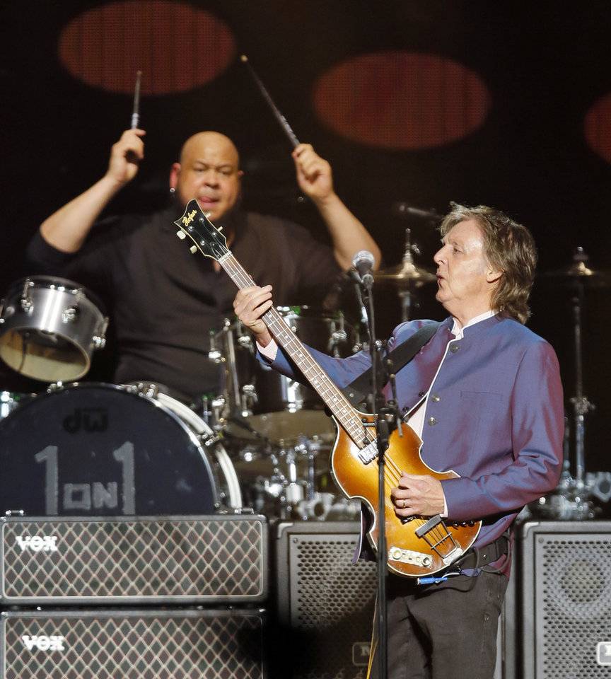 Photo - Paul McCartney and drummer Abe Laboriel Jr. perform during McCartney's One On One tour stop at the Chesapeake Energy Arena in Oklahoma City, Monday, July 17, 2017. [Photo by Nate Billings, The Oklahoman]