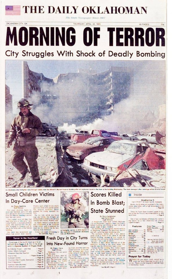 Photo - 1995: The April 20, 1995, front page of The Daily Oklahoman, a day after the Alfred P. Murrah Federal Building bombing.