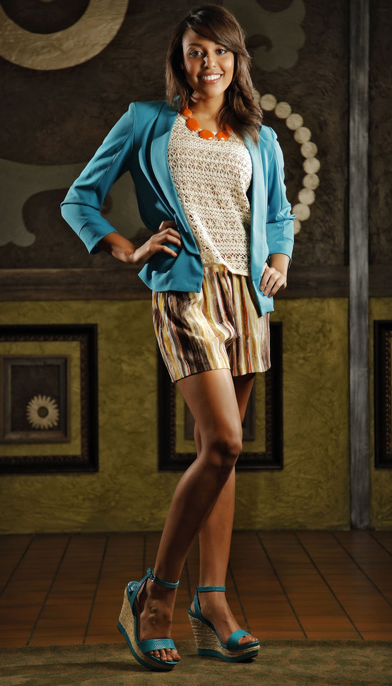 Photo - Gianni Bini watercolor stripe shorts, crop jacket, lace top and platform wedges with Natasha orange disc necklace, available at Dillard's, Penn Square.  Model is Shelley. Makeup by Natasha Emamghoraishi, Sooo Lilly Cosmetics. Photo by Chris Landsberger, The Oklahoman.  CHRIS LANDSBERGER