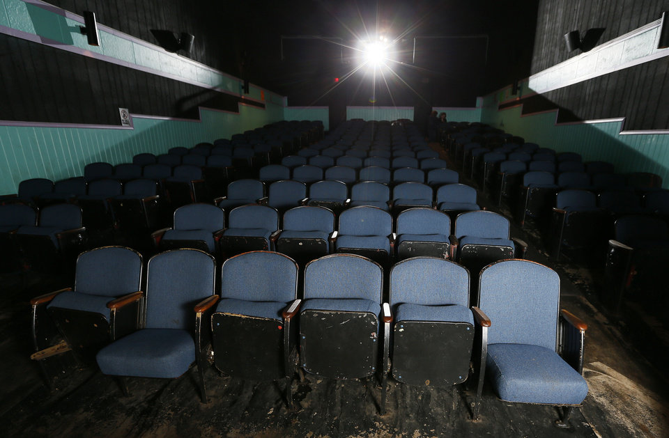 A view inside the Time Theatre in Stigler. The community is raising $100,000 to convert the theater to digital and keep it open. NATE BILLINGS - THE OKLAHOMAN