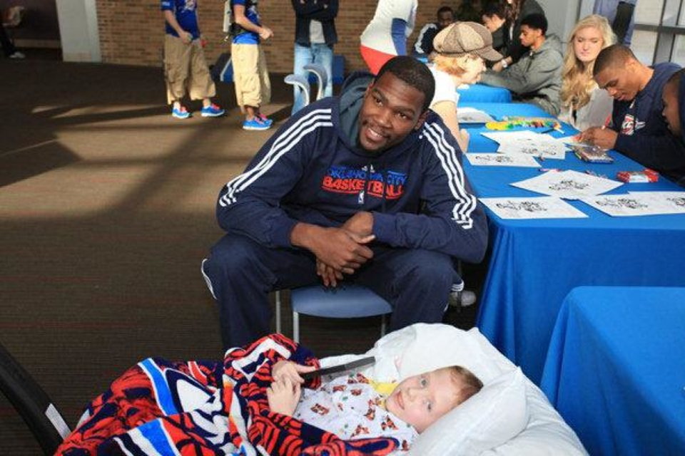 Thunder All-Star forward Kevin Durant, top, and the entire team visited OU Children�s Hospital on Saturday. Photo provided by the Thunder