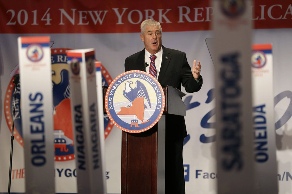 Photo - Assembly Republican leader Brian Kolb speaks during the New York State Republican Convention in Rye Brook, N.Y., Thursday, May 15, 2014. New York's Republican Party is set to nominate Westchester County Executive Rob Astorino Thursday as its candidate for governor, endorsing him as the GOP's best chance to unseat Democratic Gov. Andrew Cuomo. (AP Photo/Seth Wenig)