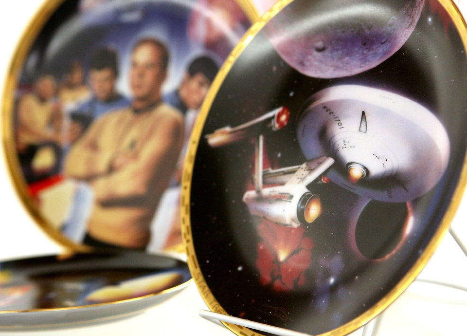 Photo - STAR TREK COLLECTION / COLLECT / COLLECTOR / PLATES: Items from Butch Roberts' collection are on display at the Choctaw Library on Wednesday, Dec. 30, 2009. By John Clanton, The Oklahoman ORG XMIT: KOD
