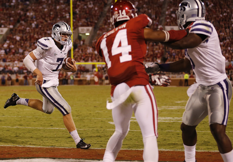 Kansas State's Collin Klein (7) runs into the end zone for a touchdown during the college football game between the University of Oklahoma Sooners (OU) and the Kansas State University Wildcats (KSU) at the Gaylord Family-Memorial Stadium on Saturday, Sept. 22, 2012, in Norman, Okla. Photo by Chris Landsberger, The Oklahoman