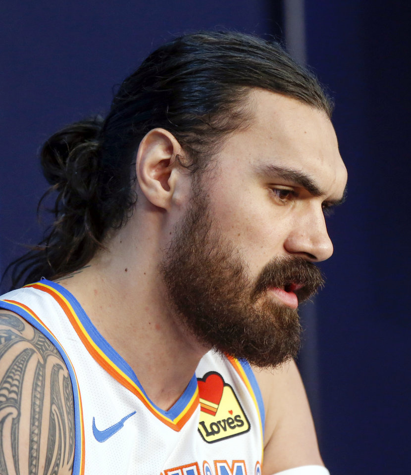 Photo - Oklahoma City's Steven Adams speaks to the media during media day for the Oklahoma City Thunder NBA basketball team at Chesapeake Energy Arena in Oklahoma City, Monday, Sept. 30, 2019. [Nate Billings/The Oklahoman]