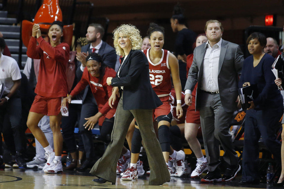 Photo - Oklahoma coach Sherri Coale, shown recently in the Sooners' Bedlam win, picked up her 500th career win Sunday in Lawrence, Kansas. [Bryan Terry/The Oklahoman]