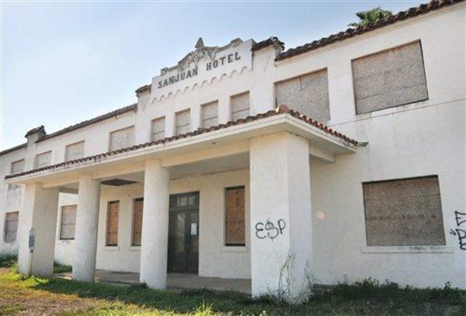 This Sept. 20, 2012 photo shows the historic San Juan Hotel in San Juan, Texas. The hotel is a Texas Historical Landmark that�s one of the upper Valley�s oldest buildings. (AP Photo/Valley Morning Star, Dina Arevalo)