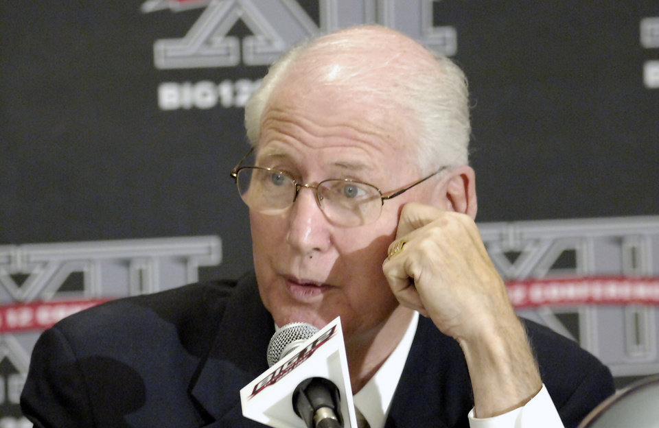 Kansas State coach Bill Snyder laughs as he answers reporters questions during a news conference at the Big 12 Football Media Day Tuesday, July 27, 2010 in Irving, Texas. (AP Photo/Cody Duty) ORG XMIT: TXCD106