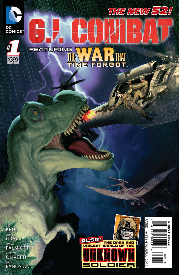 """Photo -   This image provided by DC Comics shows a variation of the cover of the first issue of G.I. Combat. More than eight months after upending its classic superheroes and ongoing titles, DC Entertainment is bringing more titles to readers this week, including a contemporary take on its classic war comic """"G.I. Combat."""" The book is one of six new titles hitting shelves Wednesday that include new takes on the Justice Society, """"Dial H For Hero"""" and heroines Power Girl and Huntress, among others. (AP Photo/DC Comics)"""