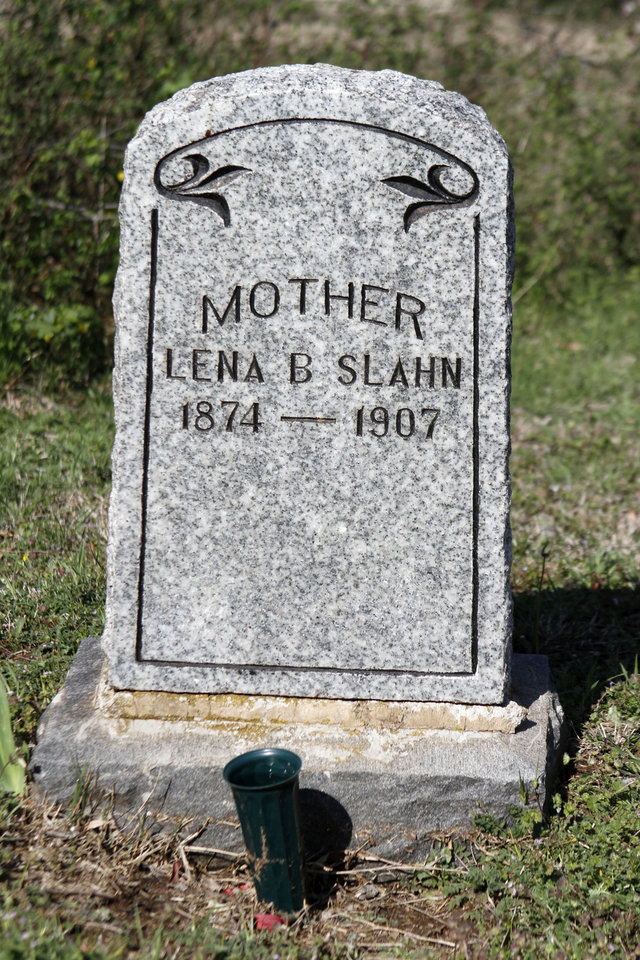 Lena B Slahn\'s headstone in the Lutheran cemetery on NW 150th street in Oklahoma City , Thursday April 11, 2013. Photo By Steve Gooch, The Oklahoman ORG XMIT: OKC1303121532440650