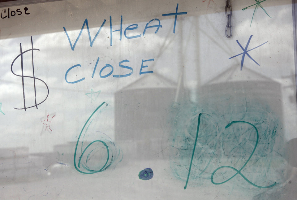 Wheat price at the Chattanooga COOP.  Photo By David McDaniel, The Oklahoman