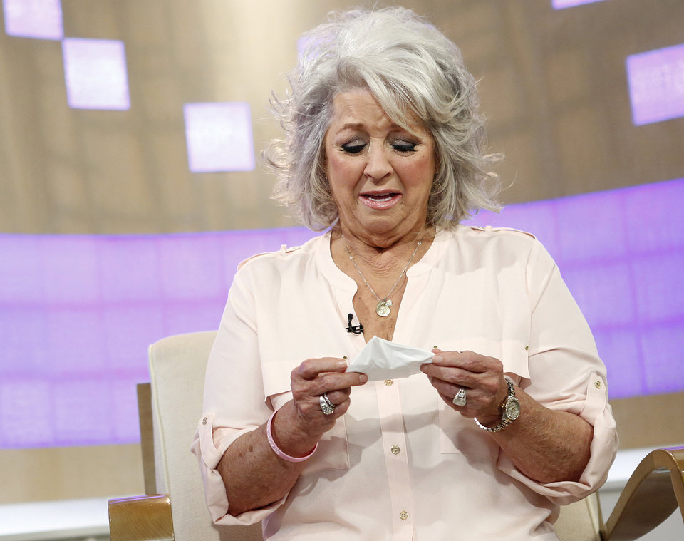 Photo - FILE - In this June 26, 2013 file photo provided by NBC, celebrity chef Paula Deen cries on NBC News'