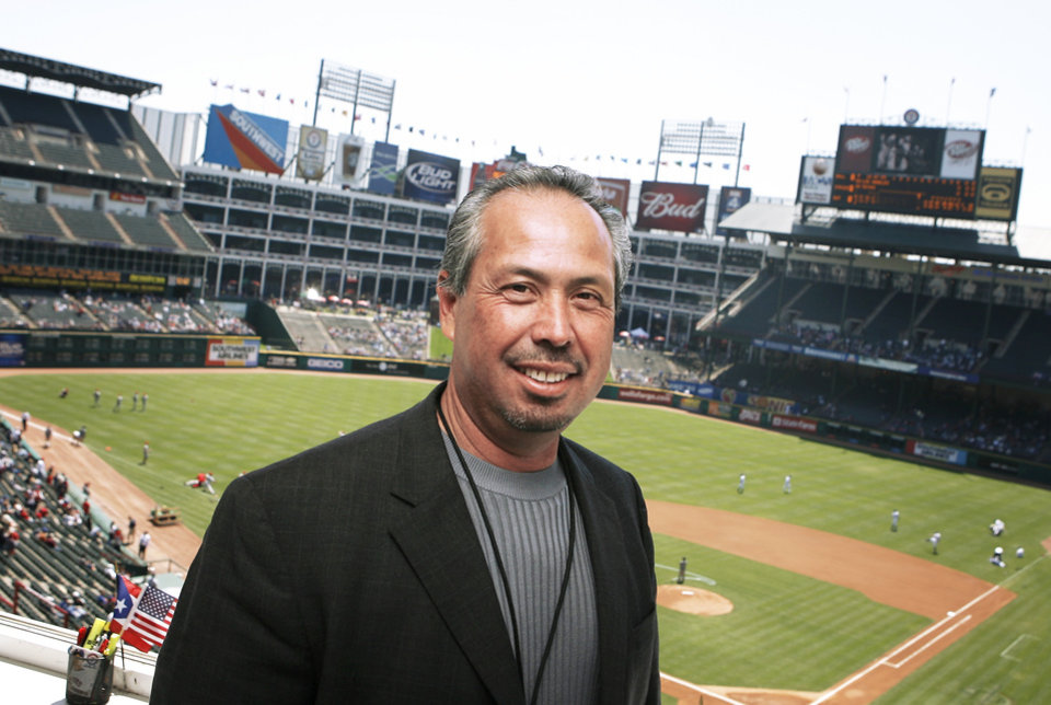 Oklahoma City Thunder Spanish broadcaster Eleno Ornelas, shown at Rangers Ballpark in Arlington, has also broadcast the Texas Rangers for nine seasons.  PHOTO BY G.J. MCCARTHY, the DALLAS MORNING NEWS