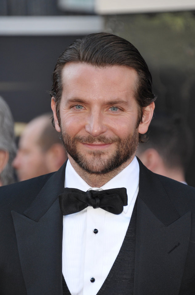 Actor Bradley Cooper arrives at the Oscars at the Dolby Theatre on Sunday Feb. 24, 2013, in Los Angeles. (Photo by John Shearer/Invision/AP)