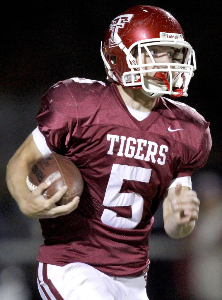 Tuttle's Dylan Coppenbarger runs up field during the high school football game between Tuttle and Anadarko, Friday, Oct. 29, 2010, in Tuttle, Okla. Photo by Sarah Phipps, The Oklahoman