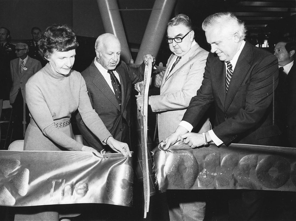 OPENING / SHOPPING CENTER: Cutting ribbon to open Crossroads Mall on Feb. 13, 1974, are, from left, Oklahoma City Mayor Patience Latting, Bruce A. Jacobi, president of N.K. Winston-Oklahoma Corp., A.J. Kavanaugh, co-owner of the center, and Gov. David Hall. Oklahoman Archive Photo		ORG XMIT: 0812060106044842