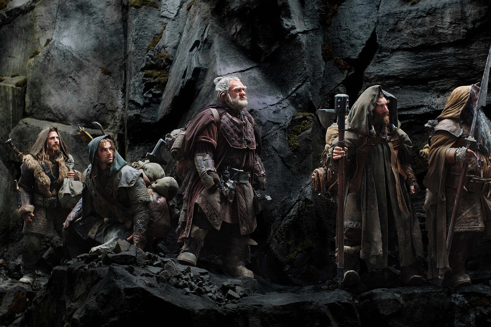 FILE - This publicity film image released by Warner Bros., shows, from left: Dean O\'Gorman as Fili; Aidan Turner as Kili; Mark Hadlow as Dori; Jed Brophy as Nori; and William Kircher as Bifur, in a scene from the fantasy adventure