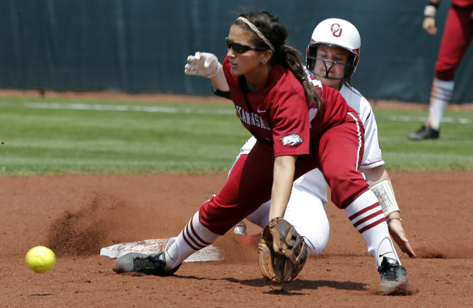 Sooner hitter Brittany Williams is safe at second behind Arkansas's Clarissa Navarro at the Norman Regional of the 2013 NCAA Division I Softball Women's College World Series as the University of Oklahoma (OU) Sooners play the Arkansas Razorbacks at Marita Hines Field on Saturday, May 18, 2013  in Norman, Okla. Photo by Steve Sisney, The Oklahoman