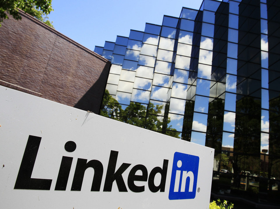 LinkedIn Corp., the professional networking website, displays its logo outside of headquarters in Mountain View, Calif. AP Photo