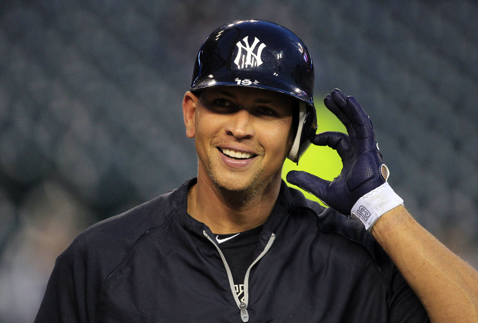 Photo -   New York Yankees' Alex Rodriguez takes off his batting helmet before Game 4 of the American League championship series against the Detroit Tigers Wednesday, Oct. 17, 2012, in Detroit. (AP Photo/Carlos Osorio)
