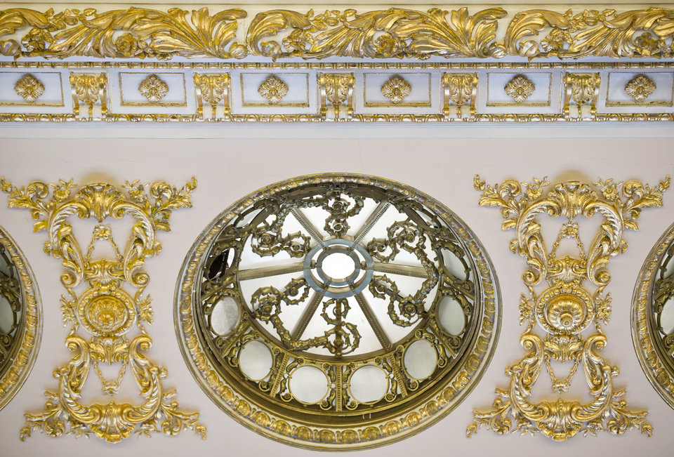 A picture taken on Dec. 12, 2012, shows a ceiling detail at the Parliament Palace in Bucharest, Romania. Twenty-three years after communism collapsed, the Palace of the Parliament, a gargantuan Stalinist symbol and the most concrete legacy of ex-dictator Nicolae Ceausescu, has emerged as an unlikely pillar of Romania's nascent democracy. And while it remains one of the most controversial projects of Ceausescu's 25-year rule, albeit one that has gradually found a place in the nation's psyche, it's also now a tourist attraction, visited by tens of thousands of Romanians and foreigners every year. (AP Photo/Vadim Ghirda)