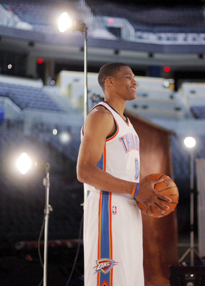 Photo - Russell Westbrook poses for a photo during media day for the Oklahoma City Thunder at the Ford Center in downtown Oklahoma City, Monday, Sept. 27, 2010. Photo by Nate Billings, The Oklahoman