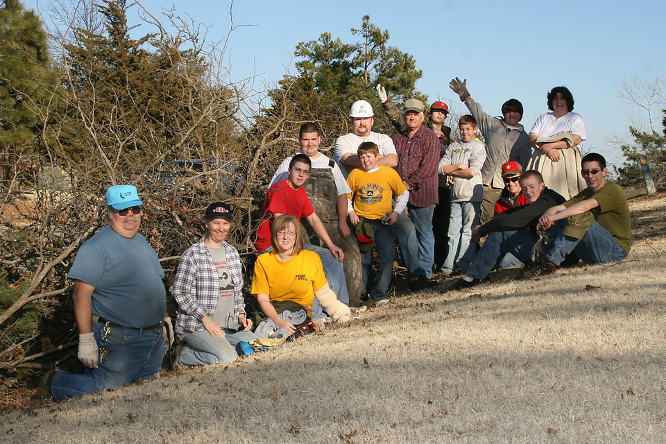 Members of Boy Scout Troop 42, 115 and 275, and Cub Scout Pack 147 assisted with the United Way's Central Oklahoma Storm Clean-up in Midwest City, Nicoma Park and Choctaw, OK.<br/><b>Community Photo By:</b> Mark D. Doiron<br/><b>Submitted By:</b> Mark, Midwest City