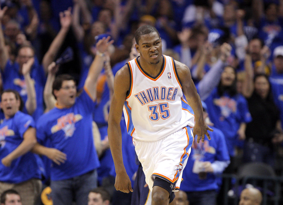 Oklahoma City\'s Kevin Durant (35) celebrates a three-pointer during game 7 of the NBA basketball Western Conference semifinals between the Memphis Grizzlies and the Oklahoma City Thunder at the OKC Arena in Oklahoma City, Sunday, May 15, 2011. Photo by Sarah Phipps, The Oklahoman