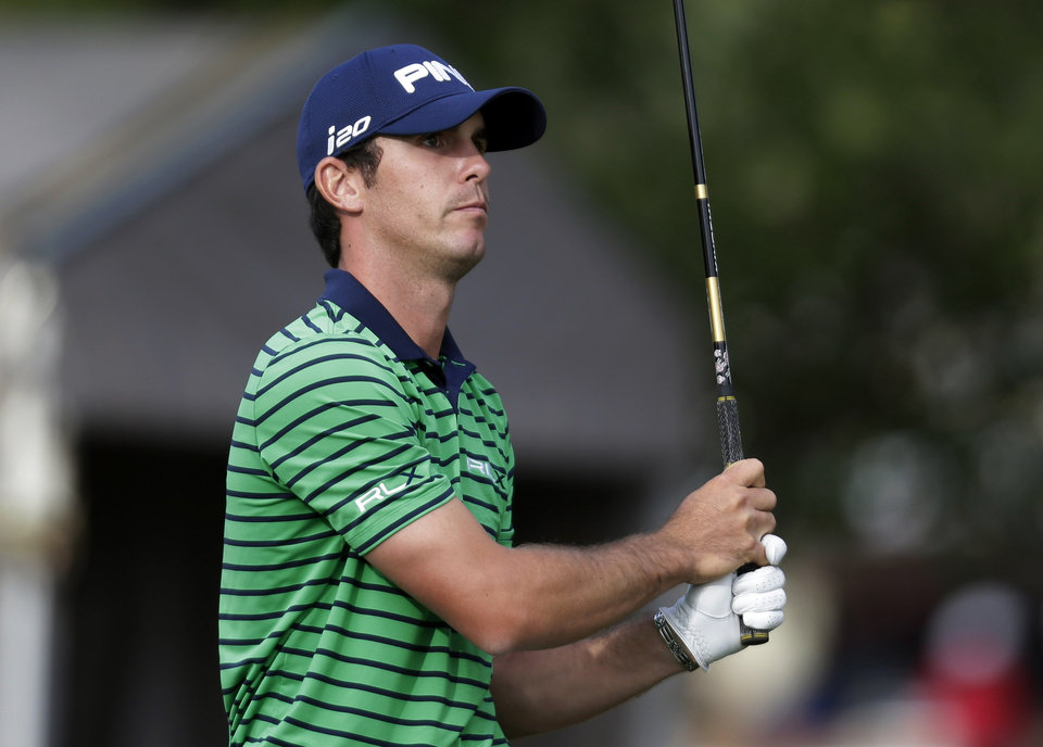 Billy Horschel, of Jacksonville Beach, Fla., watches his tee shot on the 17th hole during the second round of the Texas Open golf tournament, Friday, April 5, 2013, in San Antonio.  (AP Photo/Eric Gay)