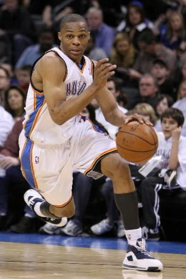 Oklahoma City's  Russell  Westbrook during the Thunder - Portland game April 3, 2009 in the Ford Center in Oklahoma City. BY HUGH SCOTT