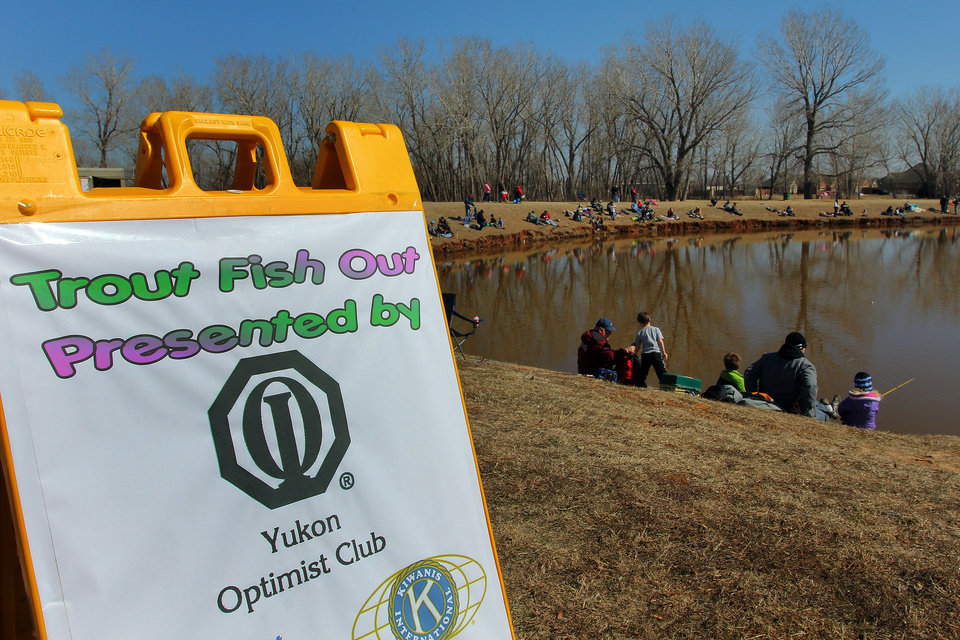 A big crowd was on hand for the Trout Fish Out Saturday, March 2, 2013, morning at the Dale Robertson Activity Center pond in Yukon. PHOTO BY HUGH SCOTT FOR THE OKLAHOMAN
