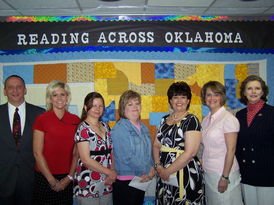Shown left to right, are:  Scott Dull, Foundation vice president; Clara Reynolds Elementary Principal Cheryl Hessman; teaches Jan Easley, Tina Blomgren and Evelyn Dull, and Lois Jennings, Foundation president.<br/><b>Community Photo By:</b> Lois Jennings<br/><b>Submitted By:</b> Lois, Newalla