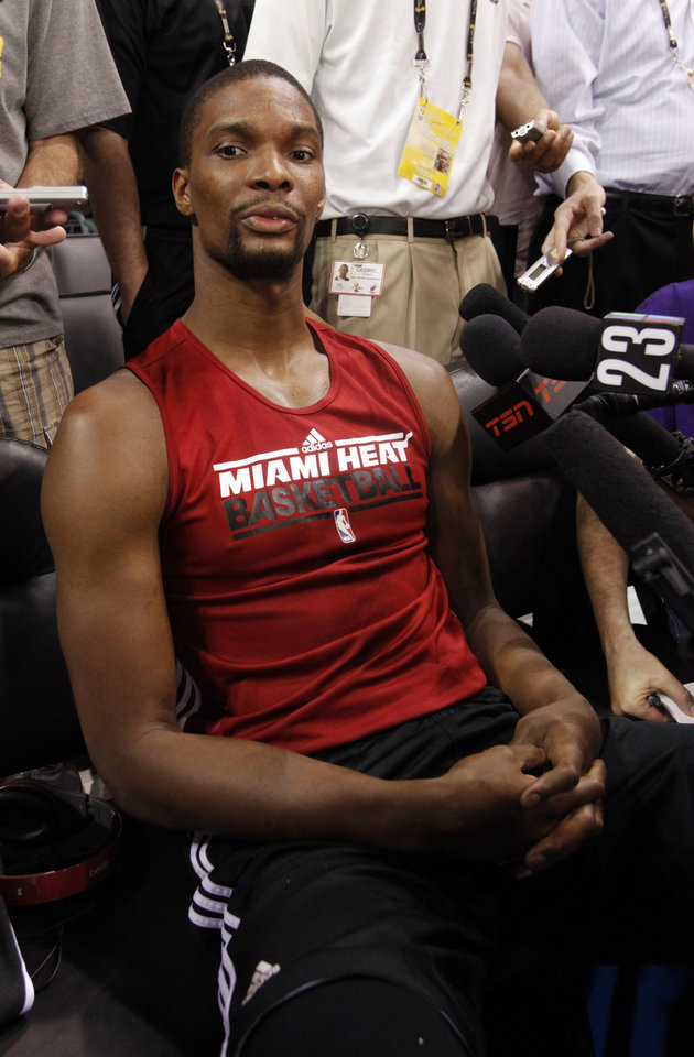 Miami Heat player Chris Bosh talks to the media after practice for the first game of the NBA basketball finals at the Chesapeake Arena on Tuesday, June 12, 2012 in Oklahoma City, Okla.  Photo by Steve Sisney, The Oklahoman