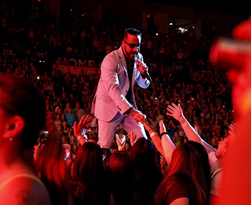 Photo - A. J. McLean with the Backstreet Boys perform at Chesapeake Energy Arena, Friday, June 6, 2014. Photo by Bryan Terry, The Oklahoman