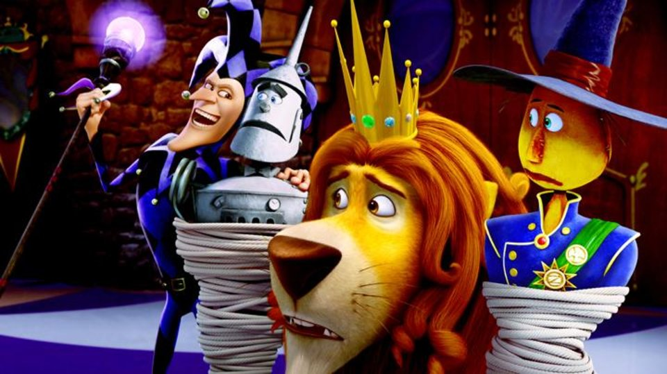 Photo -       The Jester (Martin Short), Tin Man (voice of Kelsey Grammer), Lion (voice of James Belushi) and Scarecrow (voice of Dan Aykroyd) in Legends of Oz: Dorothy's Return.