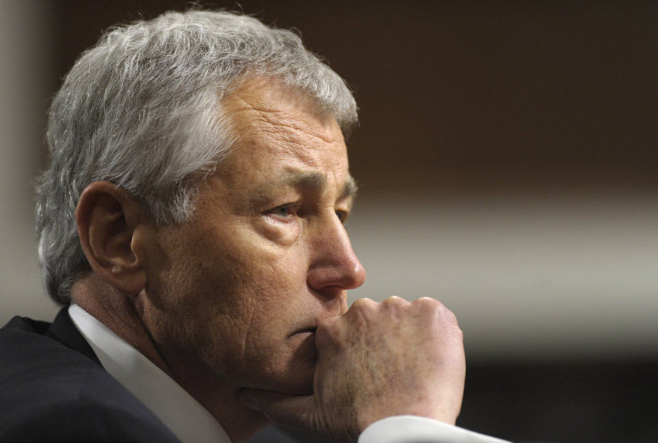 Republican Chuck Hagel, President Obama's choice for defense secretary, testifies before the Senate Armed Services Committee during his confirmation hearing, on Capitol Hill in Washington, Thursday, Jan. 31, 2013. (AP Photo/Susan Walsh)