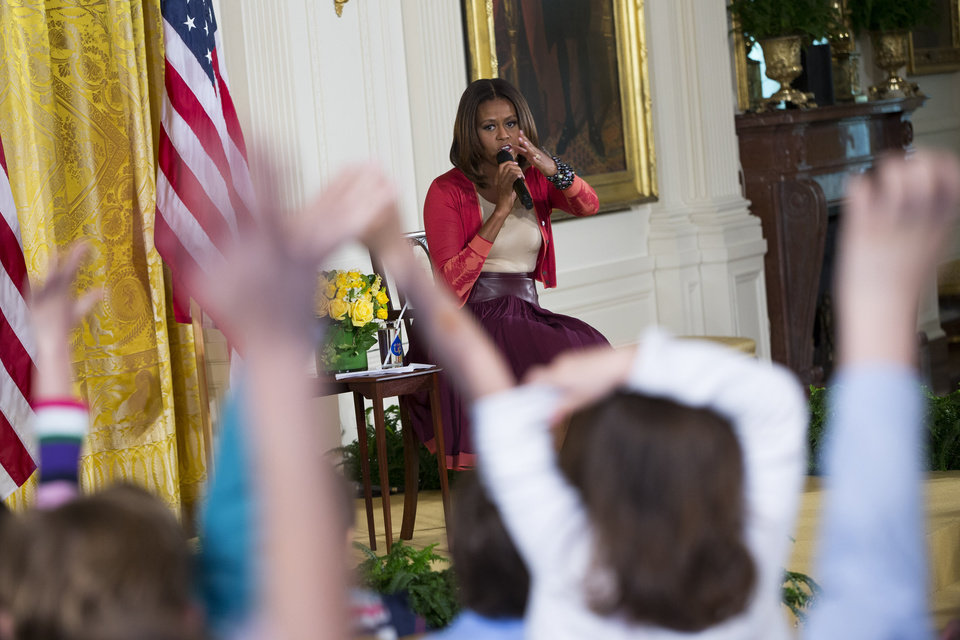 Photo - First lady Michelle Obama answers questions during the White House's annual