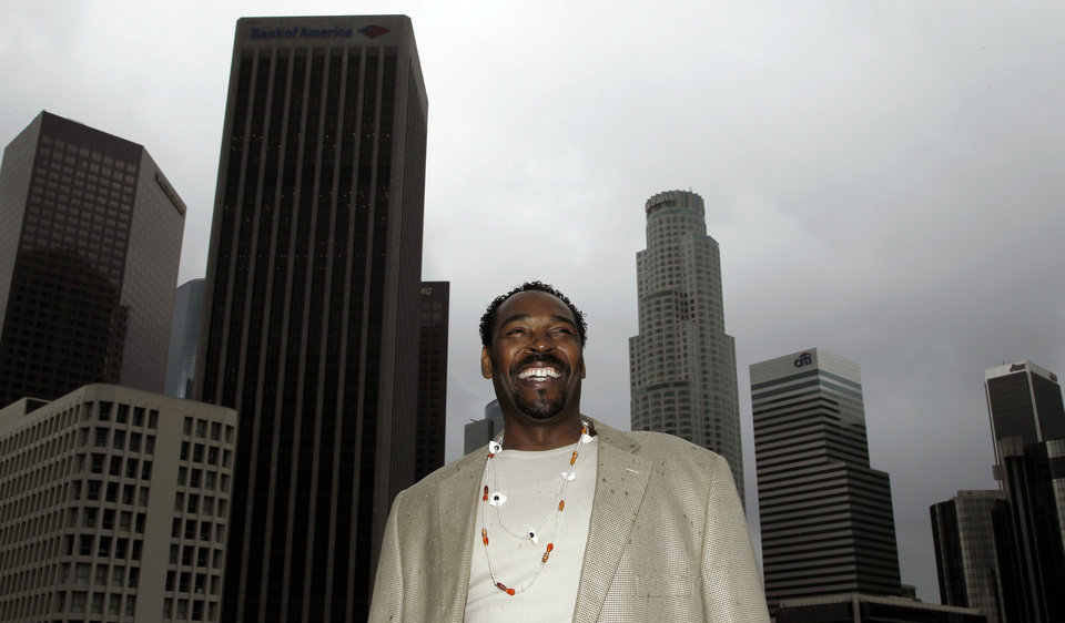 Photo -   On April 13, 2012, Rodney King poses for a portrait in Los Angeles. The acquittal of four police officers in the videotaped beating of King sparked rioting that spread across the city and into neighboring suburbs. Cars were demolished and homes and businesses were burned. Before order was restored, 55 people were dead, 2,300 injured and more than 1,500 buildings were damaged or destroyed.(AP Photo/Matt Sayles)